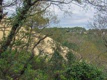 Pilat沙丘:森林和最高的沙丘看法在欧洲,阿卡雄湾,阿基旃,法国,大西洋 免版税库存照片