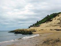 Pilat沙丘du皮拉村-最高的沙丘沙丘在欧洲,大西洋,阿卡雄湾,阿基旃,法国 库存图片