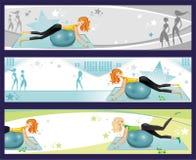 Pilates Übungsfahnen. Stockbild