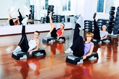 Pilates. Group of young women in the gym centre Stock Images