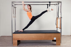 Pilates aerobic instructor woman in cadillac Stock Photography
