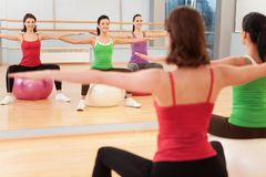 Pilates aerobics women group with stability ball. Stock Photos