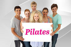 Pilates against white angular design Stock Images