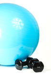 Pilates Ball And Weights Royalty Free Stock Photo