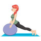 Pilates Ball Exercise. Pretty red hair woman with pony tail exercising pilates stretching workout with ball Stock Image