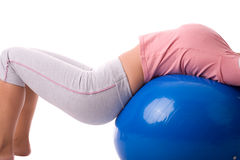 Pilates ball recreation Royalty Free Stock Images