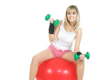 Pilates ball woman exercise Stock Photos