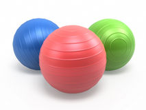 Pilates Balls. 3d render Blue green red Pilates Ball ( on white and clipping path Royalty Free Stock Photos