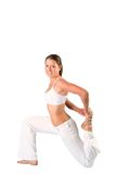 Pilates beauty girl. The sports girl in a pose yoga on a white background Royalty Free Stock Image