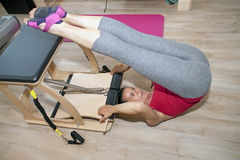 Pilates on chair Stock Image