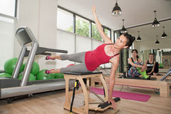 Pilates on chair Royalty Free Stock Photos