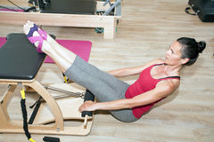 Pilates on chair Royalty Free Stock Images