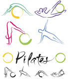 Pilates class – color vector Royalty Free Stock Image