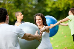 Pilates class outdoors Royalty Free Stock Photography