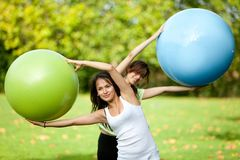 Pilates class outdoors Royalty Free Stock Image