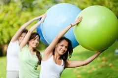 Pilates class outdoors Royalty Free Stock Photos