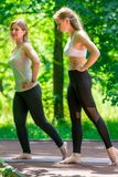 Pilates classes with an individual trainer in the park. On a summer day royalty free stock photography