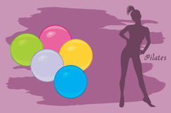 Pilates colored balls. Background stock images