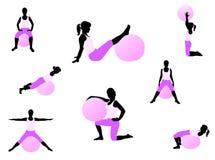 Pilates exercise. Illustration of pilates exercise, woman Stock Photo