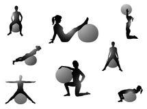 Pilates exercise. Illustration of pilates exercise, black Stock Photo