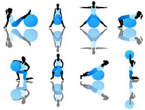 Pilates exercise. Illustration of pilates exercise, blue vector illustration