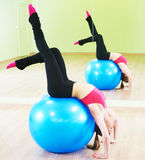Pilates exercises with fitness ball Stock Images