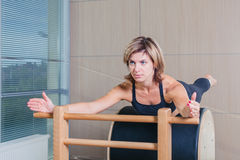 Pilates, fitness, sport, training and people stock photography