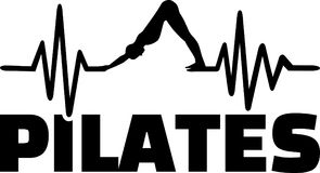 Pilates heartbeat line with silhouette. Heartbeat pulse line pilates with silhouette Stock Photos
