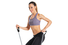 A pilates instructor with exercise bands Royalty Free Stock Photography