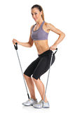 A pilates instructor with exercise bands Stock Image