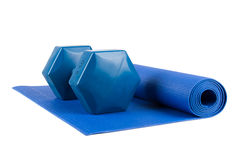 Pilates Mat and Light Weight Stock Photos