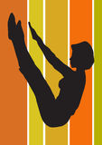 Pilates pose. Black silhouette of fitness pose Stock Photo