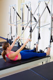Pilates reformer woman roll up exercise Stock Photo