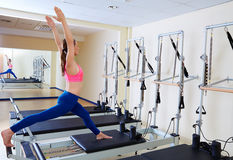 Pilates reformer woman russian split exercise Stock Photo