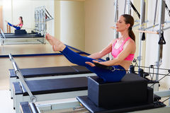 Pilates reformer woman short box teaser exercise. Workout at gym indoor Stock Image