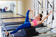Pilates reformer woman short box tree exercise. Workout at gym indoor Stock Images