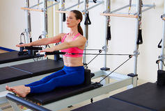 Pilates reformer woman stomach massage flat Stock Photography