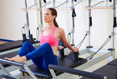 Pilates reformer woman stomach massage flat Royalty Free Stock Images