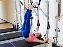 Pilates reformer woman tower exercise. Workout at gym indoor Stock Photography