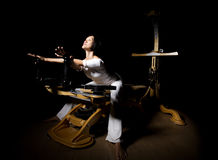 Pilates reformer workout exercises woman Stock Photo