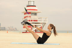 Pilates Ring Stretch on Beach Royalty Free Stock Photo