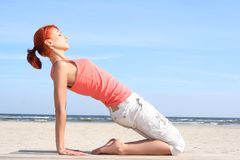 Pilates on the sea Stock Images