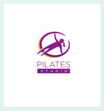 Pilates Studio Creative Sign Concep. Femine Fitness and Sport Illustration.  Royalty Free Stock Images