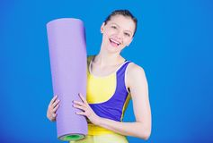 Pilates. Success. Sport mat equipment. Athletic fitness. Sporty woman training in gym. Strong muscles and power. Happy royalty free stock photography