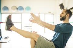 Man teaching pilates stock photos