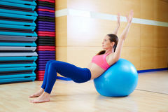 Pilates woman abdo fitball exercise gym workout Stock Photography