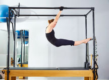 Pilates woman in cadillac acrobatic reformer Stock Images