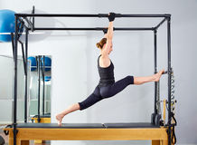 Pilates woman in cadillac legs split reformer Royalty Free Stock Images