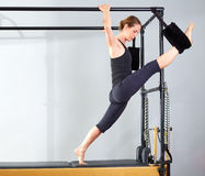Pilates woman in cadillac split legs stretch exercise Royalty Free Stock Images