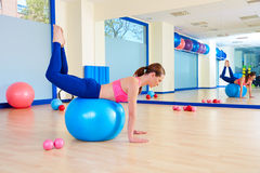 Pilates woman fitball rocking exercise workout Stock Photography